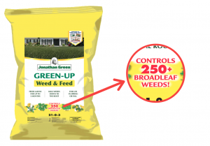 weed control fertilizer yellow bag zoomed in broadleaf weeds