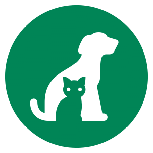 green circular icon of a dog and a cat