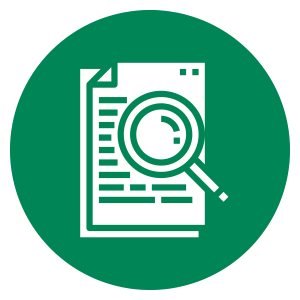 green circular icon of a research paper and a magnifying glass